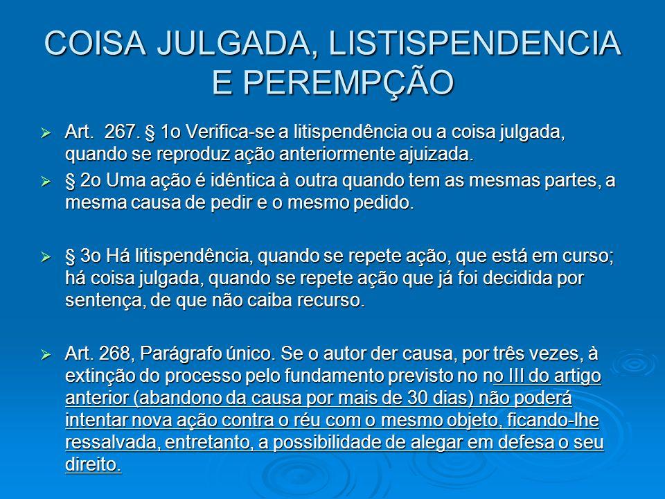 COISA JULGADA, LISTISPENDENCIA E PEREMPÇÃO  Art. 267. § 1o Verifica-se a litispendência ou a coisa julgada, quando se reproduz ação anteriormente aju