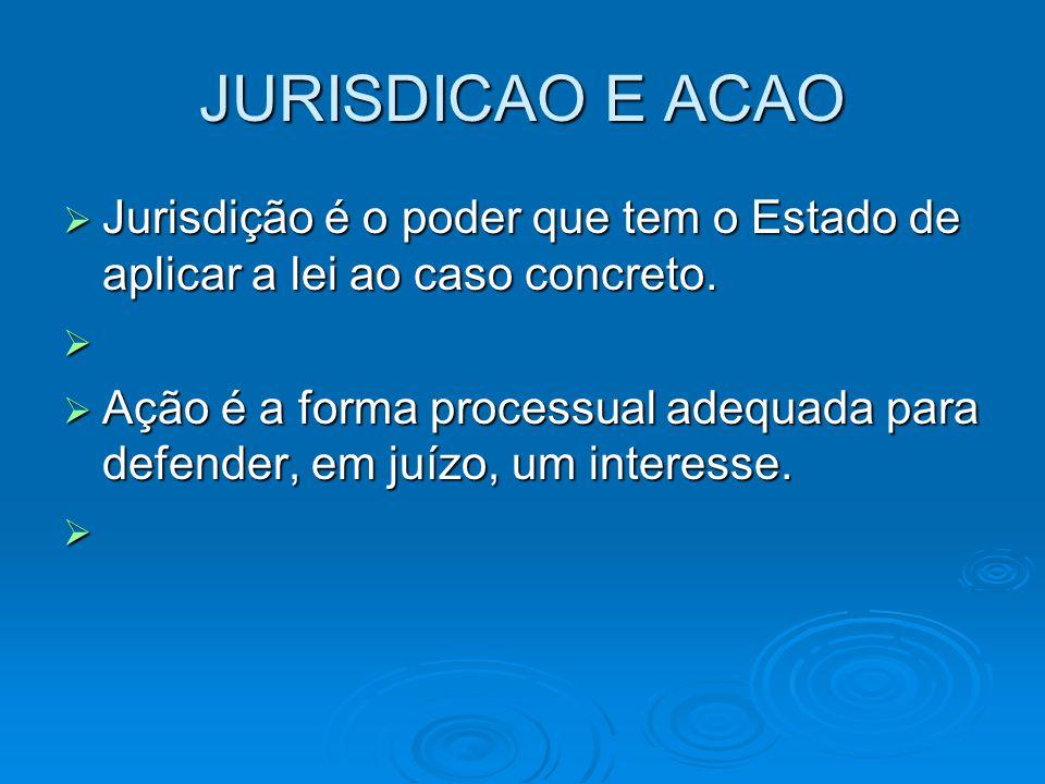 JURISDICAO E ACAO  Jurisdição é o poder que tem o Estado de aplicar a lei ao caso concreto.   Ação é a forma processual adequada para defender, em