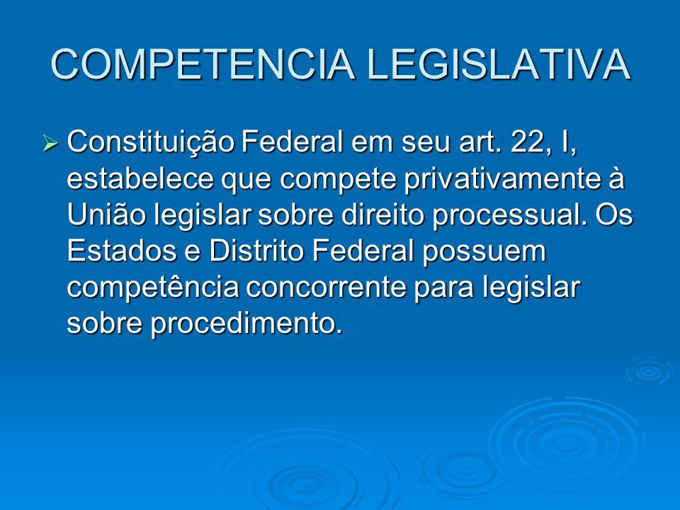 COMPETENCIA LEGISLATIVA  Constituição Federal em seu art. 22, I, estabelece que compete privativamente à União legislar sobre direito processual. Os
