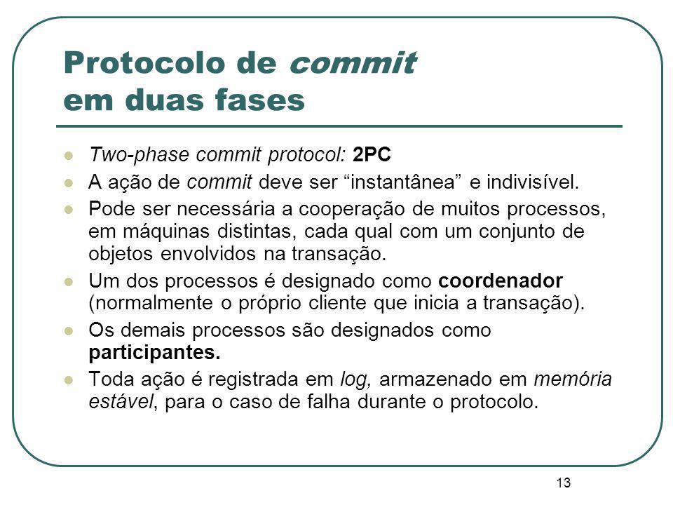 """13 Protocolo de commit em duas fases Two-phase commit protocol: 2PC A ação de commit deve ser """"instantânea"""" e indivisível. Pode ser necessária a coope"""