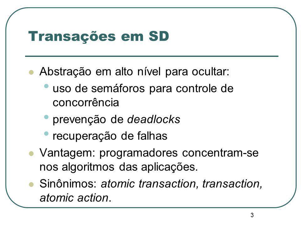 3 Transações em SD Abstração em alto nível para ocultar: uso de semáforos para controle de concorrência prevenção de deadlocks recuperação de falhas Vantagem: programadores concentram-se nos algoritmos das aplicações.