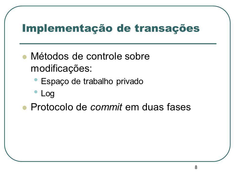 9 Espaço de trabalho privado Um processo que começa uma transação cria um espaço contendo cópias de todos os objetos manipulados pela transação.