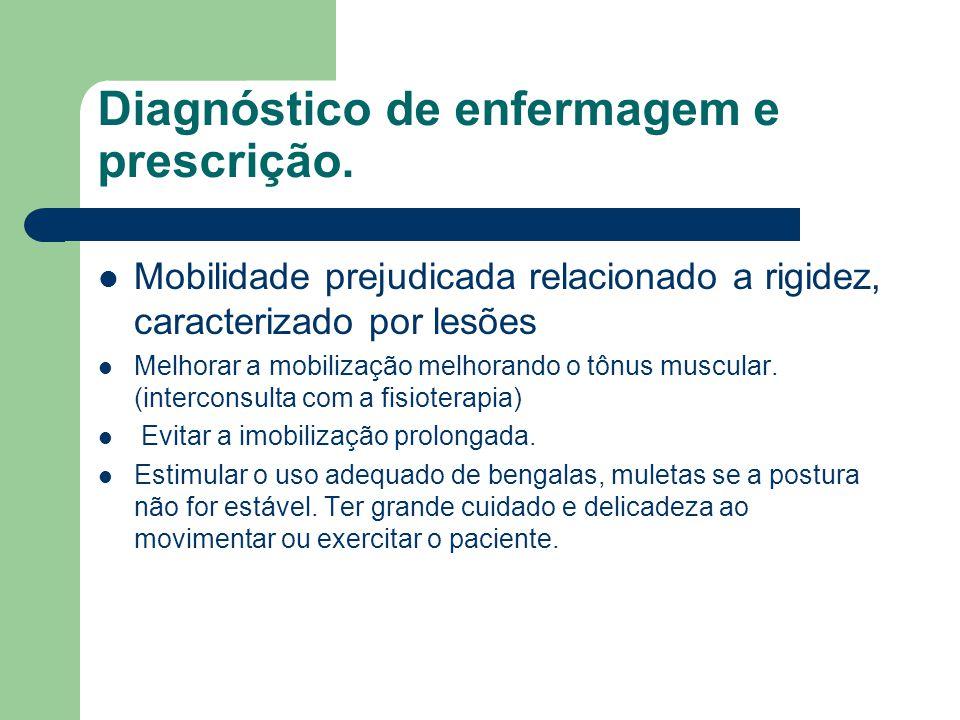 Diagnóstico de enfermagem e prescrição. Mobilidade prejudicada relacionado a rigidez, caracterizado por lesões Melhorar a mobilização melhorando o tôn