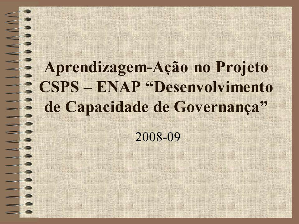 Aprendizagem-Ação no Projeto CSPS – ENAP Desenvolvimento de Capacidade de Governança 2008-09