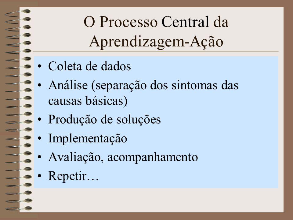 O Processo Central da Aprendizagem-Ação Coleta de dados Análise (separação dos sintomas das causas básicas) Produção de soluções Implementação Avaliação, acompanhamento Repetir…