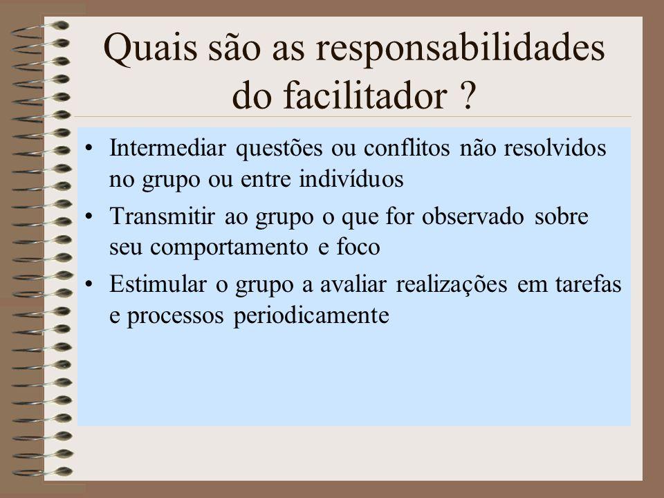 Quais são as responsabilidades do facilitador .