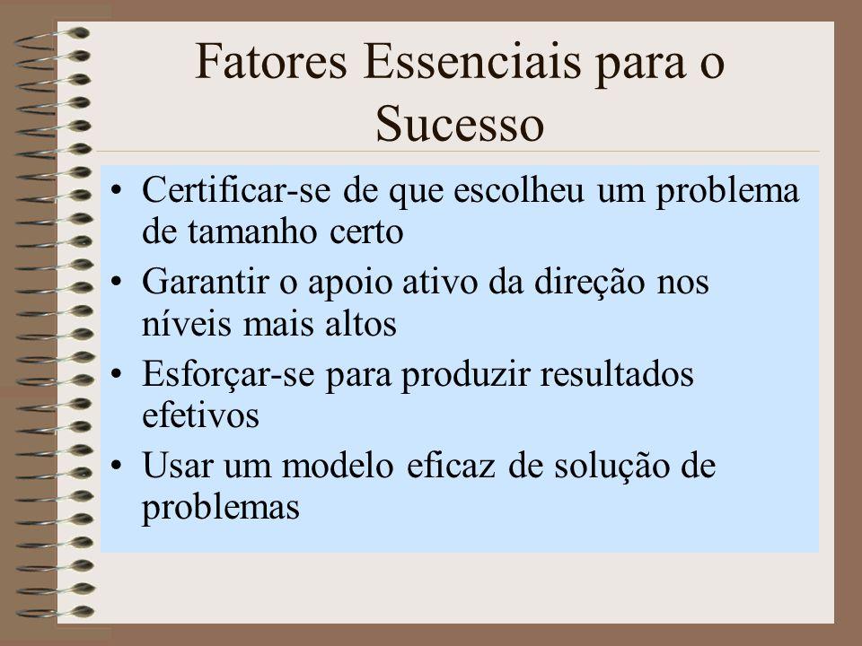 Fatores Essenciais para o Sucesso Certificar-se de que escolheu um problema de tamanho certo Garantir o apoio ativo da direção nos níveis mais altos Esforçar-se para produzir resultados efetivos Usar um modelo eficaz de solução de problemas
