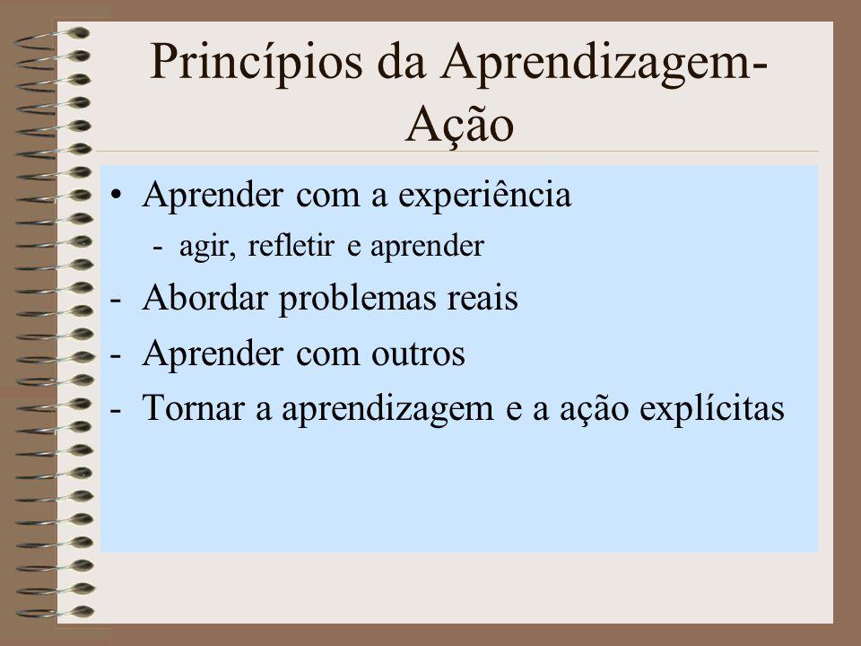 Princípios da Aprendizagem- Ação Aprender com a experiência -agir, refletir e aprender -Abordar problemas reais -Aprender com outros -Tornar a aprendizagem e a ação explícitas