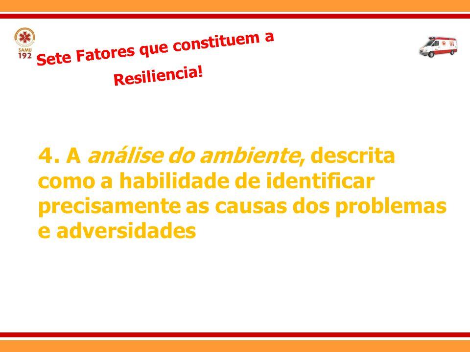 Sete Fatores que constituem a Resiliencia! 4. A análise do ambiente, descrita como a habilidade de identificar precisamente as causas dos problemas e