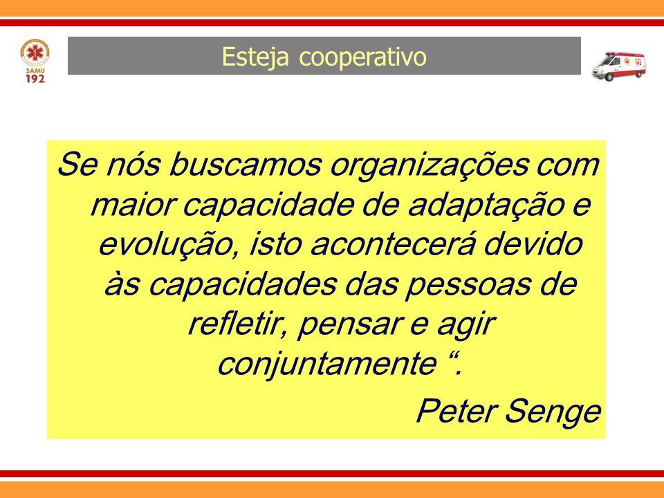 Esteja cooperativo Se nós buscamos organizações com maior capacidade de adaptação e evolução, isto acontecerá devido às capacidades das pessoas de ref