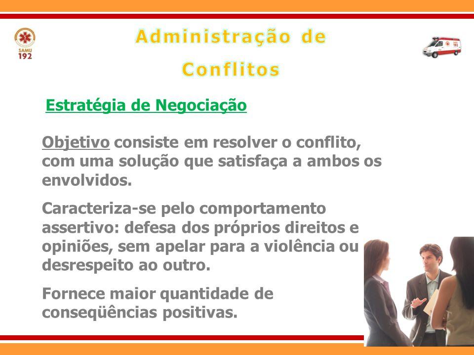 Objetivo consiste em resolver o conflito, com uma solução que satisfaça a ambos os envolvidos. Caracteriza-se pelo comportamento assertivo: defesa dos