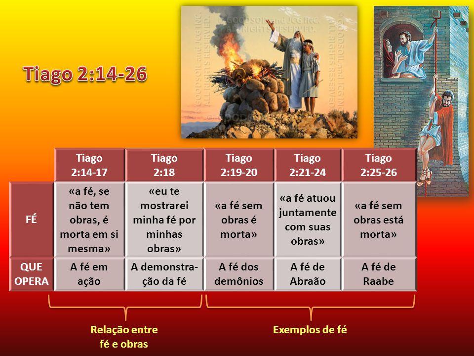 Tiago 2:14-17 Tiago 2:18 Tiago 2:19-20 Tiago 2:21-24 Tiago 2:25-26 FÉ «a fé, se não tem obras, é morta em si mesma» «eu te mostrarei minha fé por minhas obras» «a fé sem obras é morta» «a fé atuou juntamente com suas obras» «a fé sem obras está morta» QUE OPERA A fé em ação A demonstra- ção da fé A fé dos demônios A fé de Abraão A fé de Raabe Relação entre fé e obras Exemplos de fé