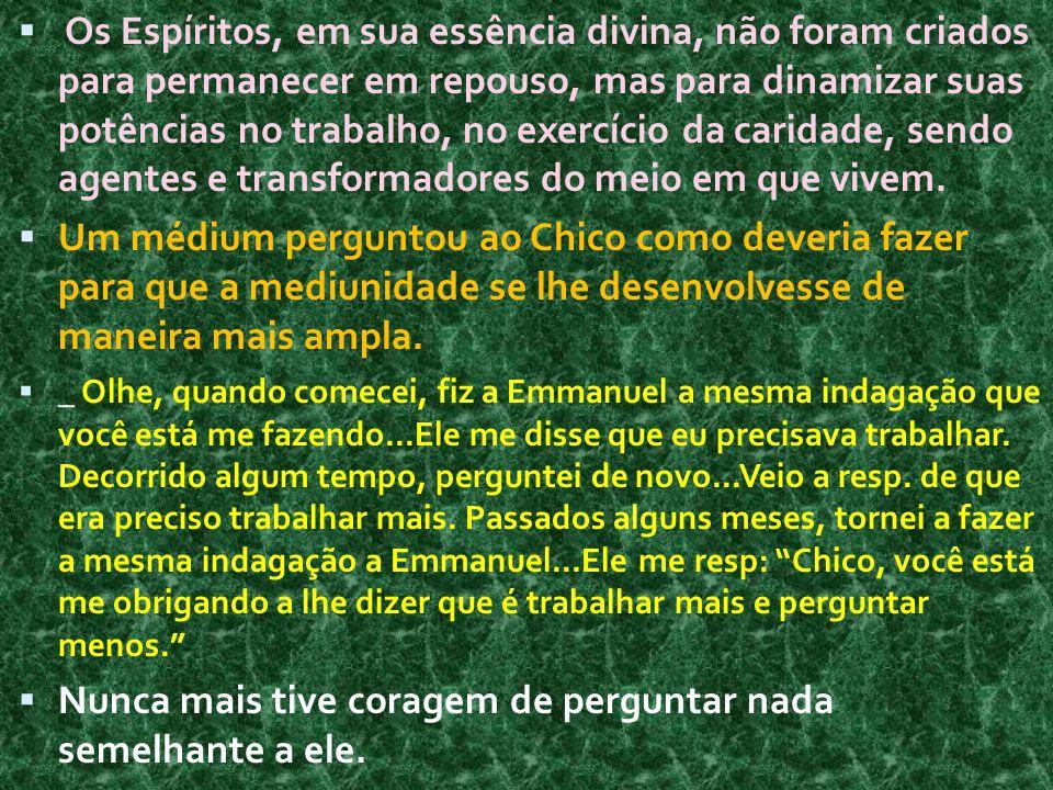  Os Espíritos, em sua essência divina, não foram criados para permanecer em repouso, mas para dinamizar suas potências no trabalho, no exercício da c