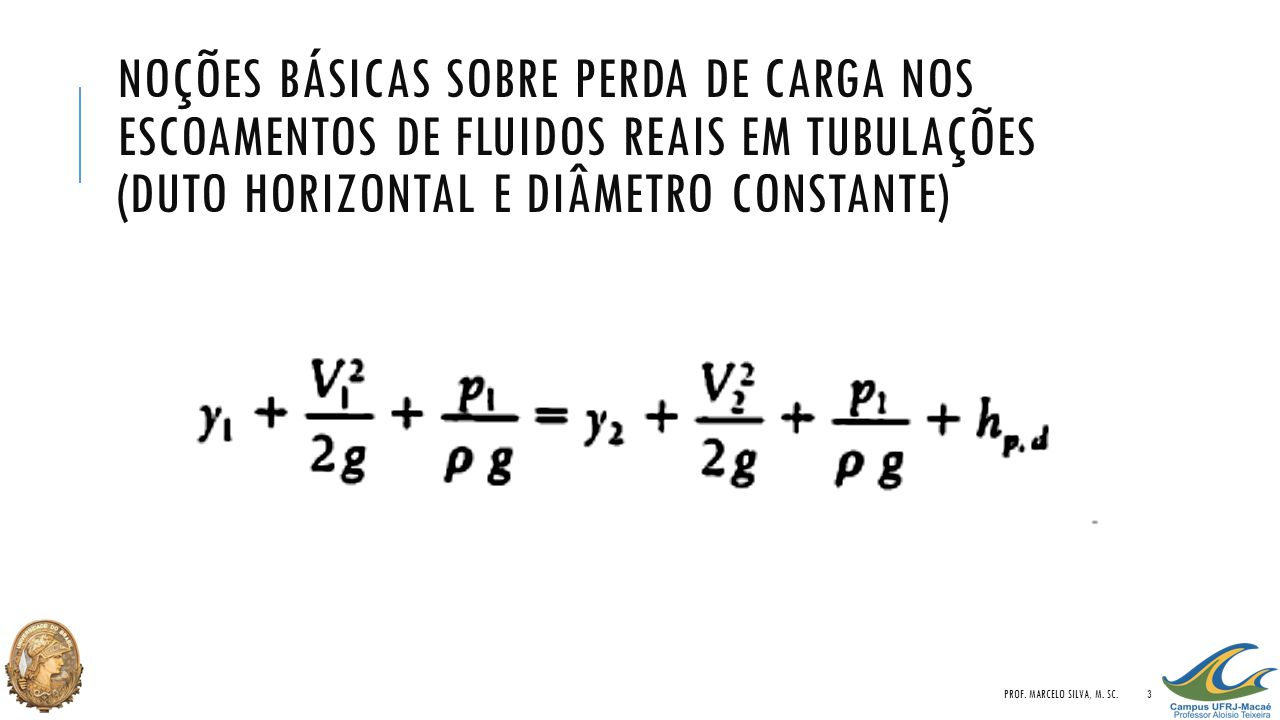 NOÇÕES BÁSICAS SOBRE PERDA DE CARGA NOS ESCOAMENTOS DE FLUIDOS REAIS EM TUBULAÇÕES (DUTO HORIZONTAL E DIÂMETRO CONSTANTE) PROF. MARCELO SILVA, M. SC.3