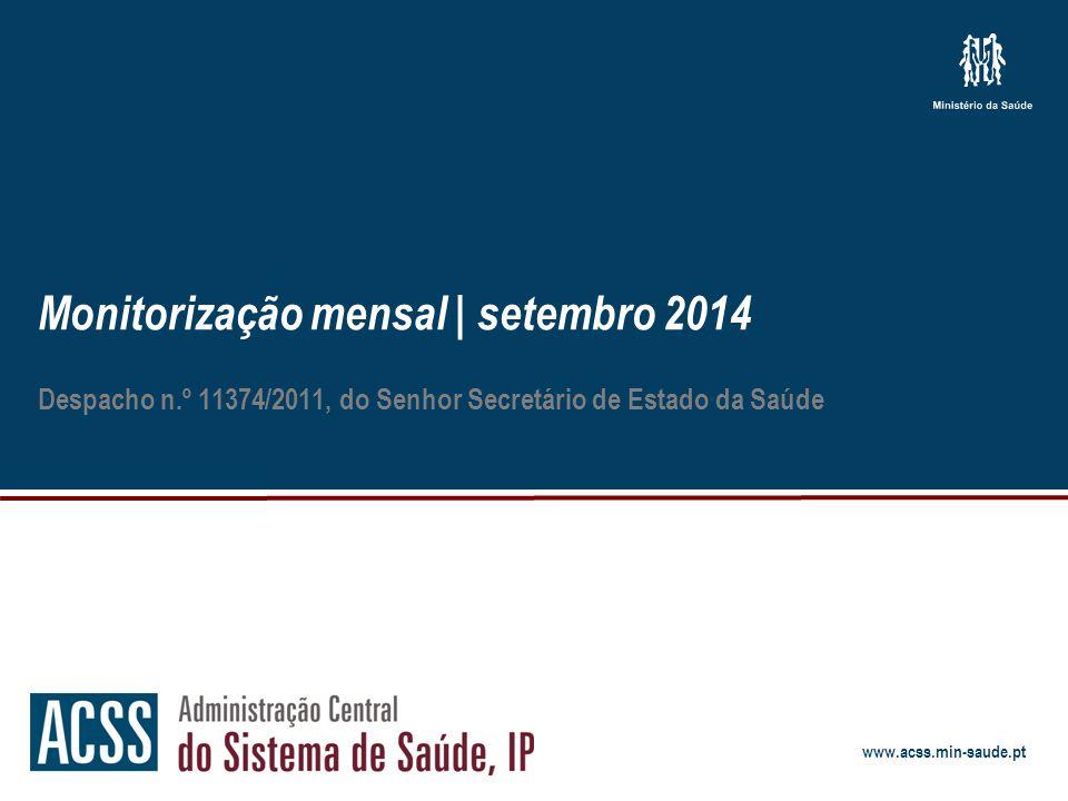 www.acss.min-saude.pt Monitorização mensal | setembro 2014 Despacho n.º 11374/2011, do Senhor Secretário de Estado da Saúde