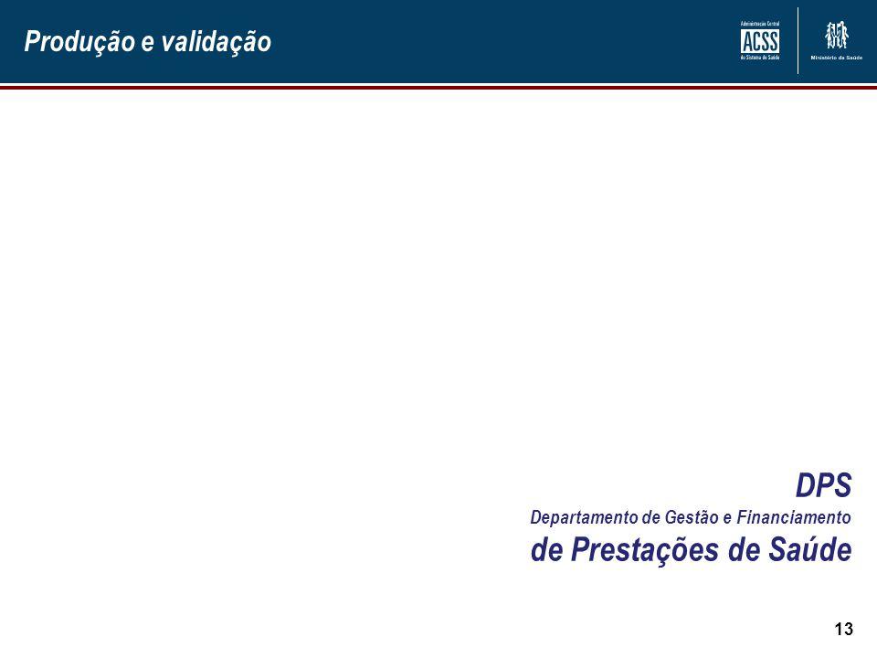 Produção e validação 13 DPS Departamento de Gestão e Financiamento de Prestações de Saúde