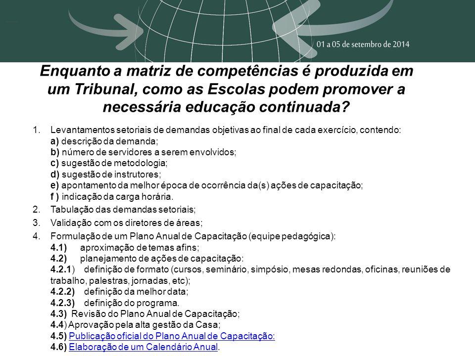Enquanto a matriz de competências é produzida em um Tribunal, como as Escolas podem promover a necessária educação continuada? 1.Levantamentos setoria
