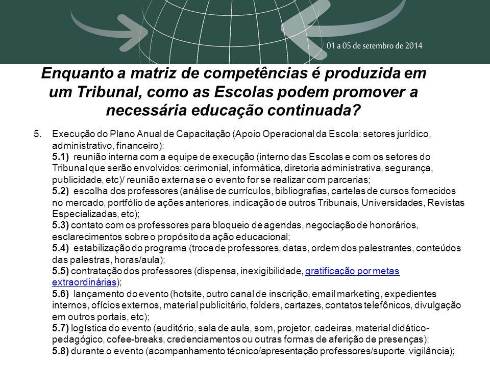 Enquanto a matriz de competências é produzida em um Tribunal, como as Escolas podem promover a necessária educação continuada? 5.Execução do Plano Anu