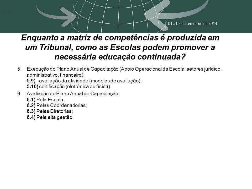 Enquanto a matriz de competências é produzida em um Tribunal, como as Escolas podem promover a necessária educação continuada.