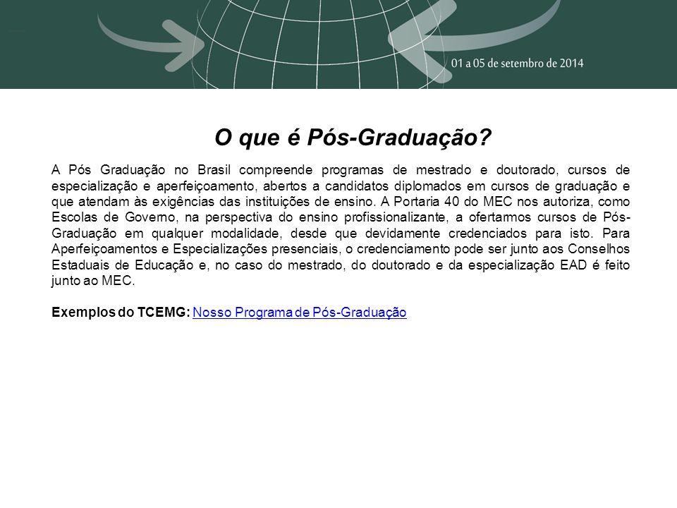 O que é Pós-Graduação? A Pós Graduação no Brasil compreende programas de mestrado e doutorado, cursos de especialização e aperfeiçoamento, abertos a c