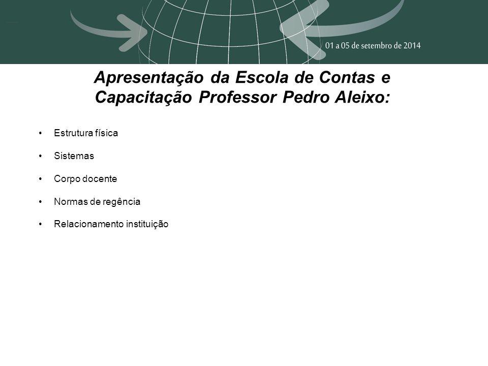 Apresentação da Escola de Contas e Capacitação Professor Pedro Aleixo: Estrutura física Sistemas Corpo docente Normas de regência Relacionamento instituição