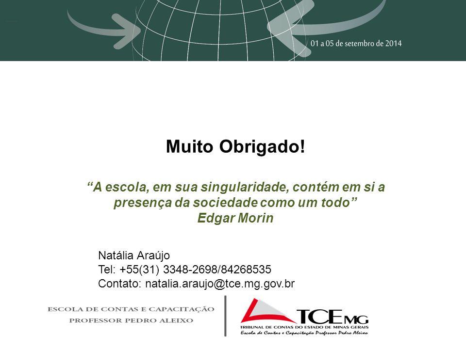 """Muito Obrigado! """"A escola, em sua singularidade, contém em si a presença da sociedade como um todo"""" Edgar Morin Natália Araújo Tel: +55(31) 3348-2698/"""
