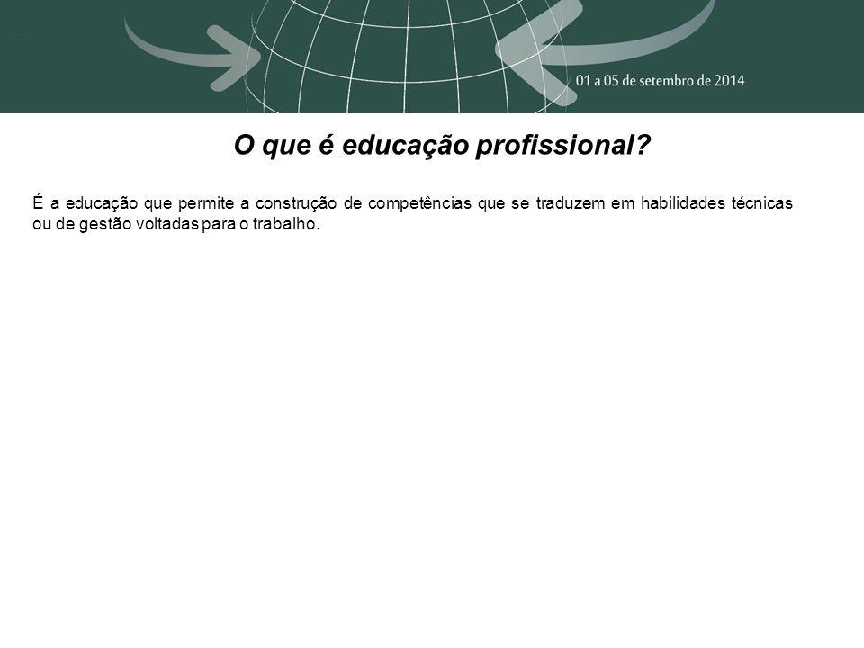 O que é educação profissional? É a educação que permite a construção de competências que se traduzem em habilidades técnicas ou de gestão voltadas par