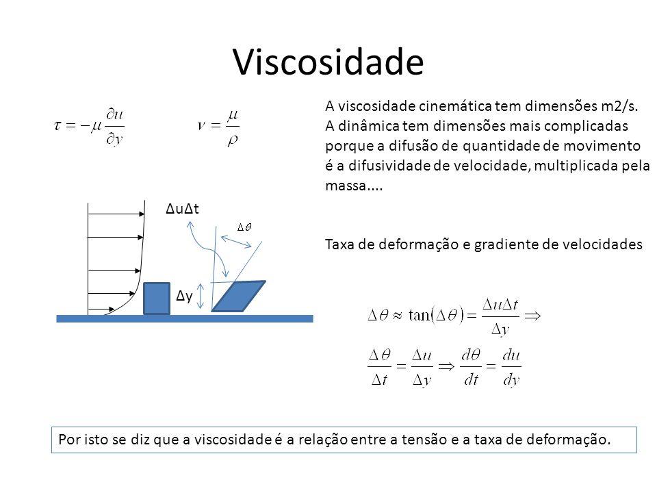 Viscosidade A viscosidade cinemática tem dimensões m2/s. A dinâmica tem dimensões mais complicadas porque a difusão de quantidade de movimento é a dif