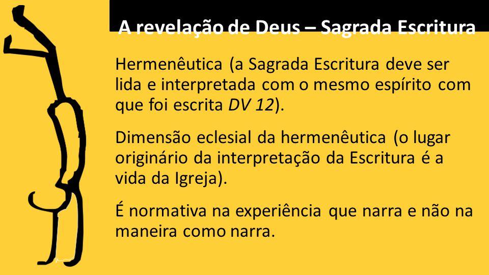 Hermenêutica (a Sagrada Escritura deve ser lida e interpretada com o mesmo espírito com que foi escrita DV 12).