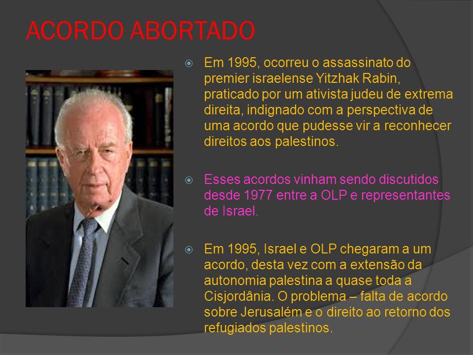 ACORDO ABORTADO  Em 1995, ocorreu o assassinato do premier israelense Yitzhak Rabin, praticado por um ativista judeu de extrema direita, indignado com a perspectiva de uma acordo que pudesse vir a reconhecer direitos aos palestinos.