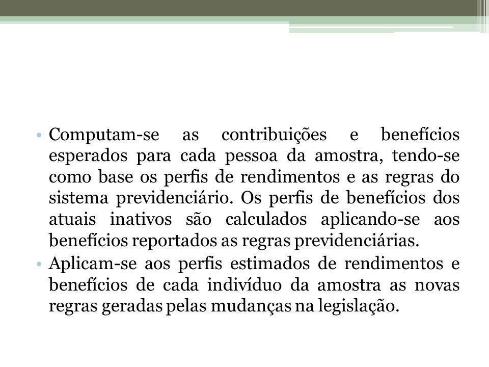 Computam-se as contribuições e benefícios esperados para cada pessoa da amostra, tendo-se como base os perfis de rendimentos e as regras do sistema previdenciário.