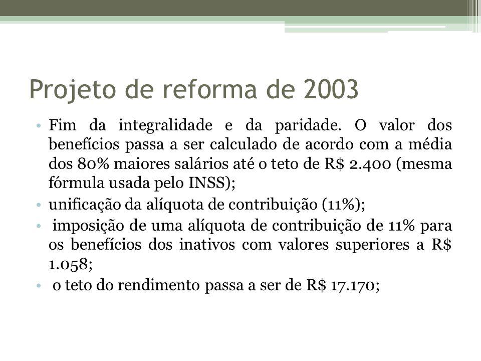 Projeto de reforma de 2003 Fim da integralidade e da paridade. O valor dos benefícios passa a ser calculado de acordo com a média dos 80% maiores salá