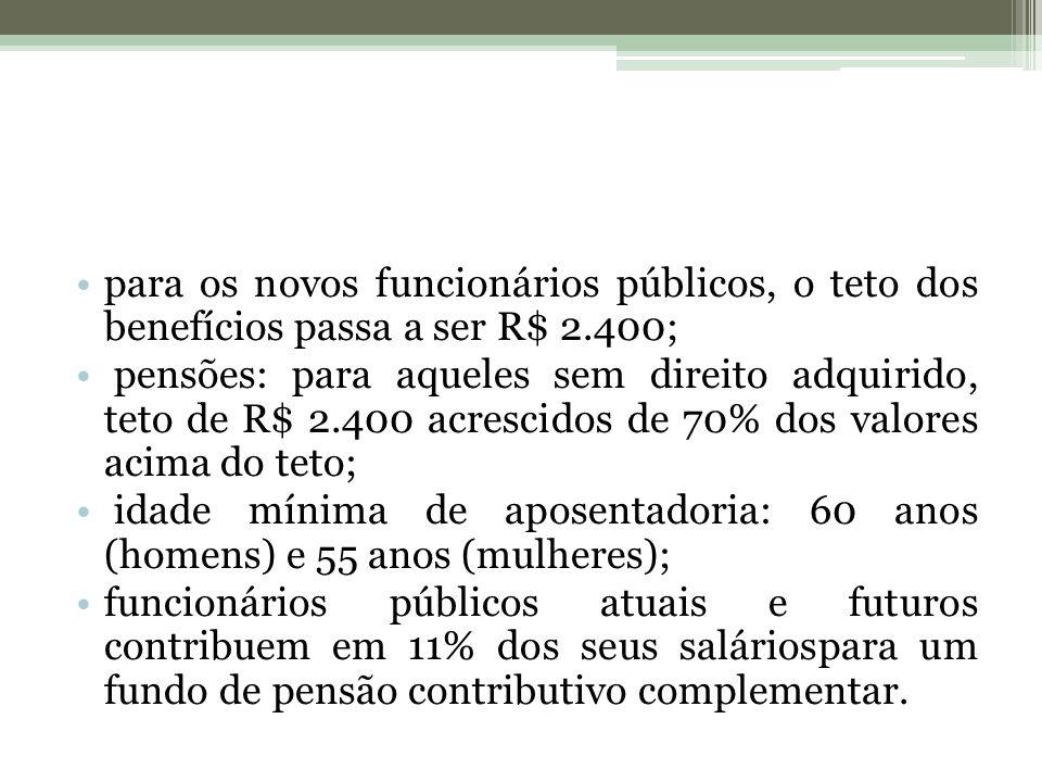 para os novos funcionários públicos, o teto dos benefícios passa a ser R$ 2.400; pensões: para aqueles sem direito adquirido, teto de R$ 2.400 acresci