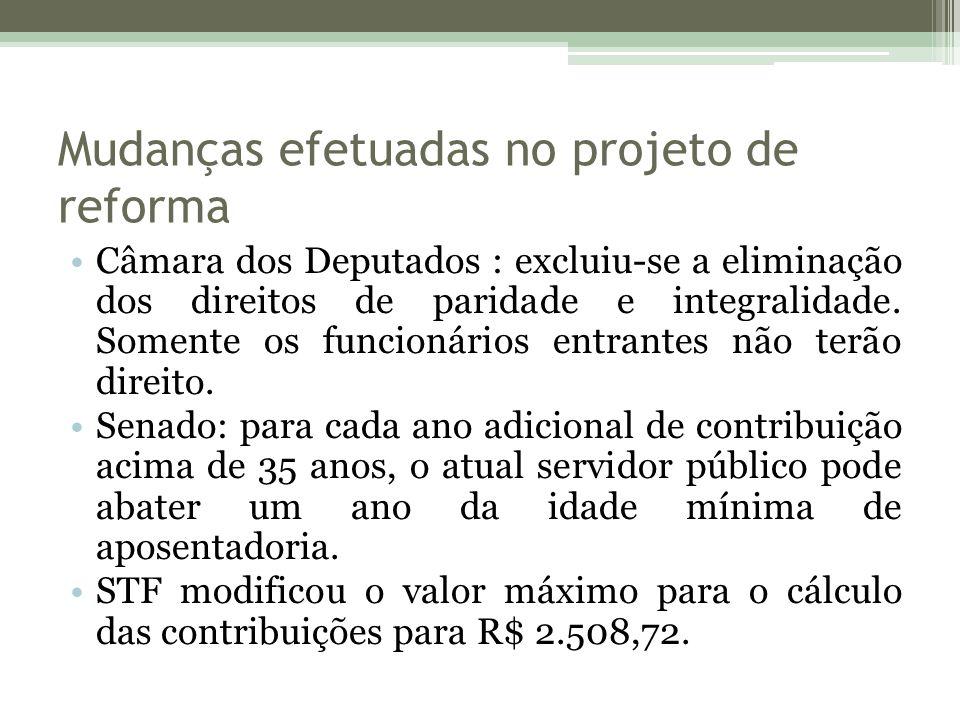 Mudanças efetuadas no projeto de reforma Câmara dos Deputados : excluiu-se a eliminação dos direitos de paridade e integralidade.