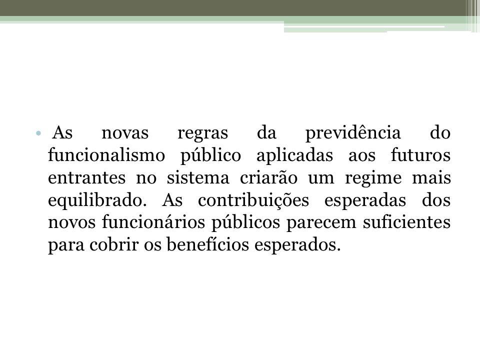 As novas regras da previdência do funcionalismo público aplicadas aos futuros entrantes no sistema criarão um regime mais equilibrado. As contribuiçõe