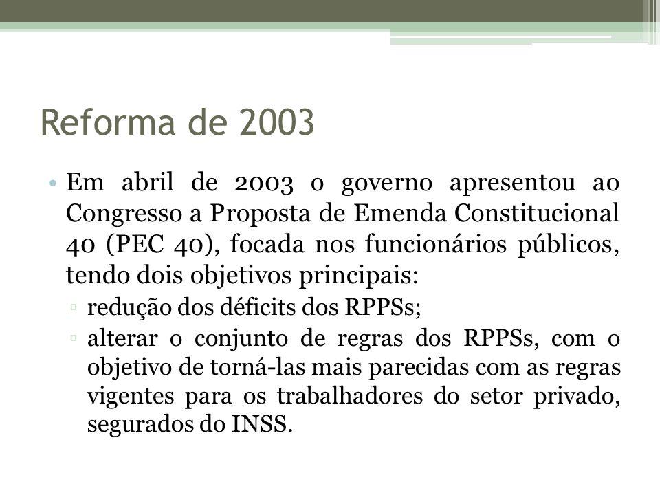 Reforma de 2003 Em abril de 2003 o governo apresentou ao Congresso a Proposta de Emenda Constitucional 40 (PEC 40), focada nos funcionários públicos,