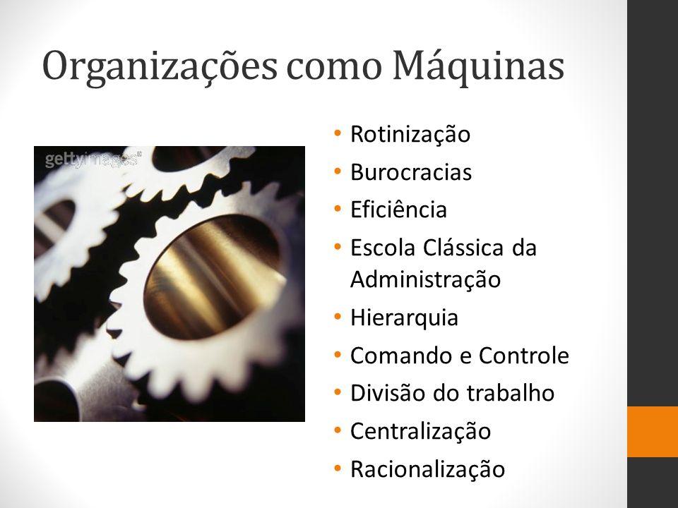 Organizações como Máquinas Rotinização Burocracias Eficiência Escola Clássica da Administração Hierarquia Comando e Controle Divisão do trabalho Centralização Racionalização