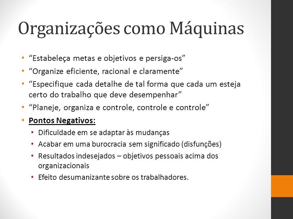 """Organizações como Máquinas """"Estabeleça metas e objetivos e persiga-os"""" """"Organize eficiente, racional e claramente"""" """"Especifique cada detalhe de tal fo"""