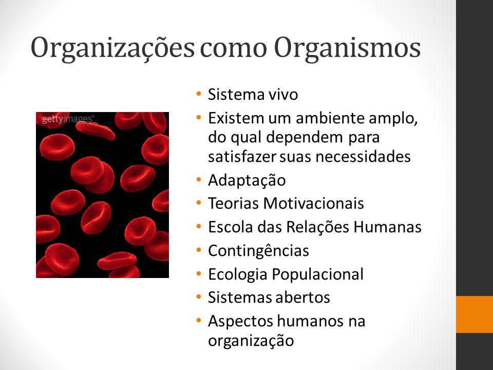 Organizações como Organismos Sistema vivo Existem um ambiente amplo, do qual dependem para satisfazer suas necessidades Adaptação Teorias Motivacionai