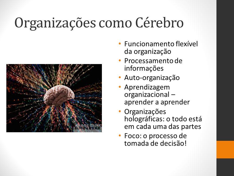 Organizações como Cérebro Funcionamento flexível da organização Processamento de informações Auto-organização Aprendizagem organizacional – aprender a aprender Organizações holográficas: o todo está em cada uma das partes Foco: o processo de tomada de decisão!