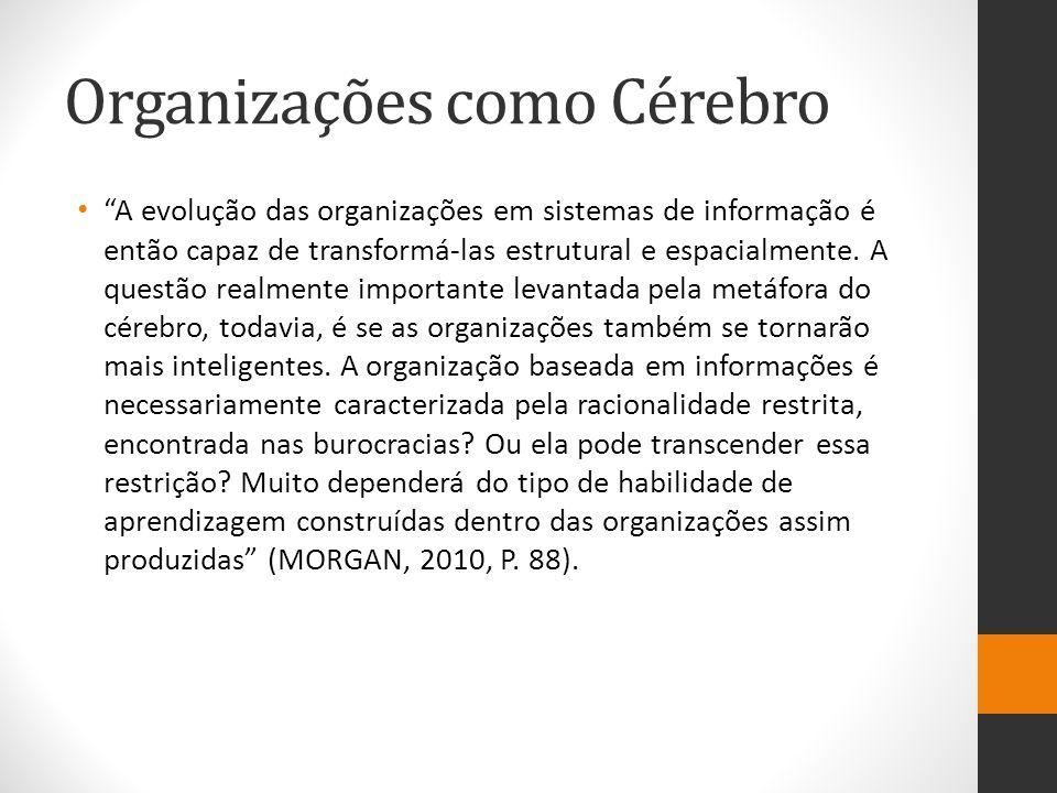 """Organizações como Cérebro """"A evolução das organizações em sistemas de informação é então capaz de transformá-las estrutural e espacialmente. A questão"""