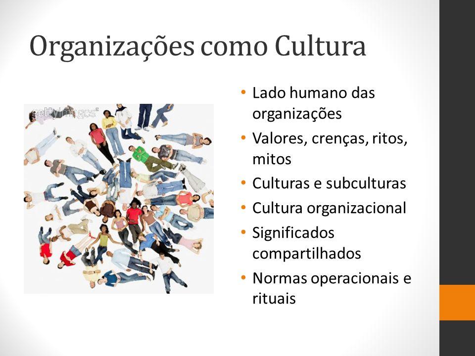 Organizações como Cultura Lado humano das organizações Valores, crenças, ritos, mitos Culturas e subculturas Cultura organizacional Significados compartilhados Normas operacionais e rituais