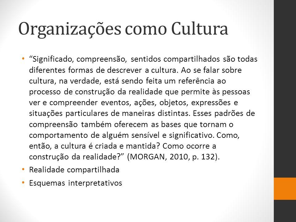 """Organizações como Cultura """"Significado, compreensão, sentidos compartilhados são todas diferentes formas de descrever a cultura. Ao se falar sobre cul"""