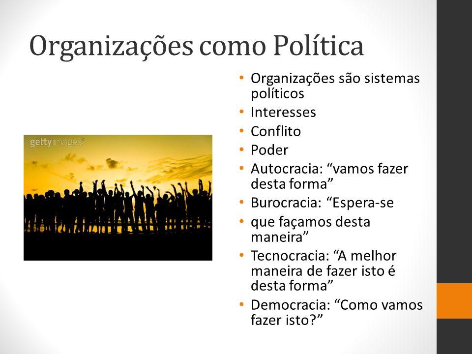 Organizações como Política Organizações são sistemas políticos Interesses Conflito Poder Autocracia: vamos fazer desta forma Burocracia: Espera-se que façamos desta maneira Tecnocracia: A melhor maneira de fazer isto é desta forma Democracia: Como vamos fazer isto?