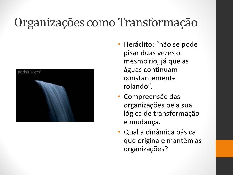 Organizações como Transformação Heráclito: não se pode pisar duas vezes o mesmo rio, já que as águas continuam constantemente rolando .