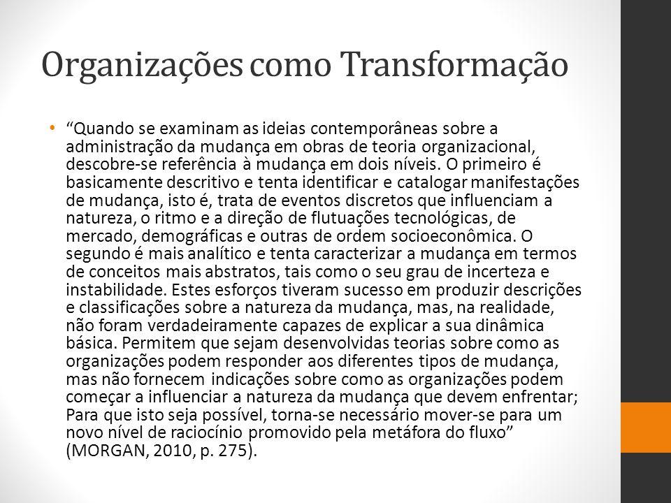 Organizações como Transformação Quando se examinam as ideias contemporâneas sobre a administração da mudança em obras de teoria organizacional, descobre-se referência à mudança em dois níveis.