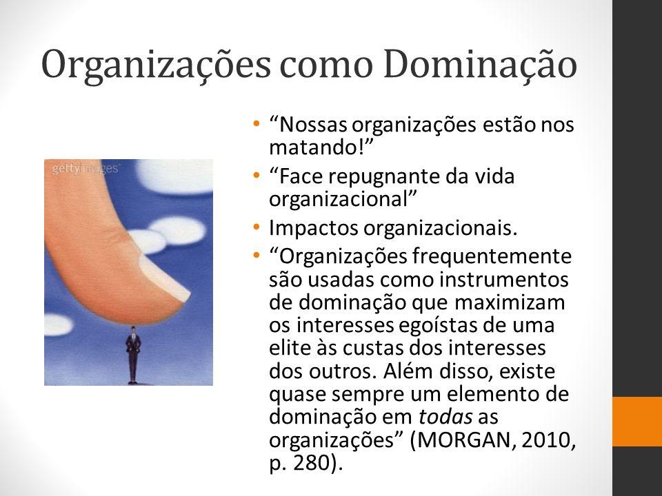 Organizações como Dominação Nossas organizações estão nos matando! Face repugnante da vida organizacional Impactos organizacionais.
