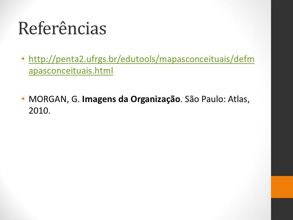 Referências http://penta2.ufrgs.br/edutools/mapasconceituais/defm apasconceituais.html http://penta2.ufrgs.br/edutools/mapasconceituais/defm apasconceituais.html MORGAN, G.