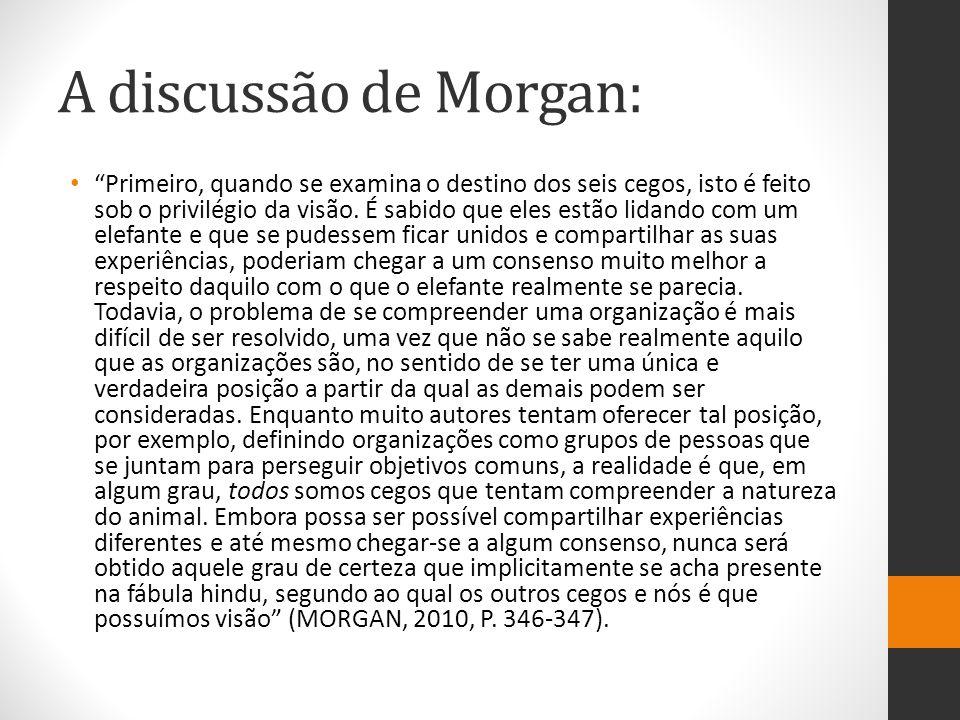 A discussão de Morgan: Uma segunda diferença importante entre a moral da fábula e o problema do entendimento das organizações é que o mesmo aspecto de uma organização pode ser diferentes coisas ao mesmo tempo.