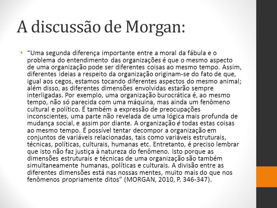 """A discussão de Morgan: """"Uma segunda diferença importante entre a moral da fábula e o problema do entendimento das organizações é que o mesmo aspecto d"""